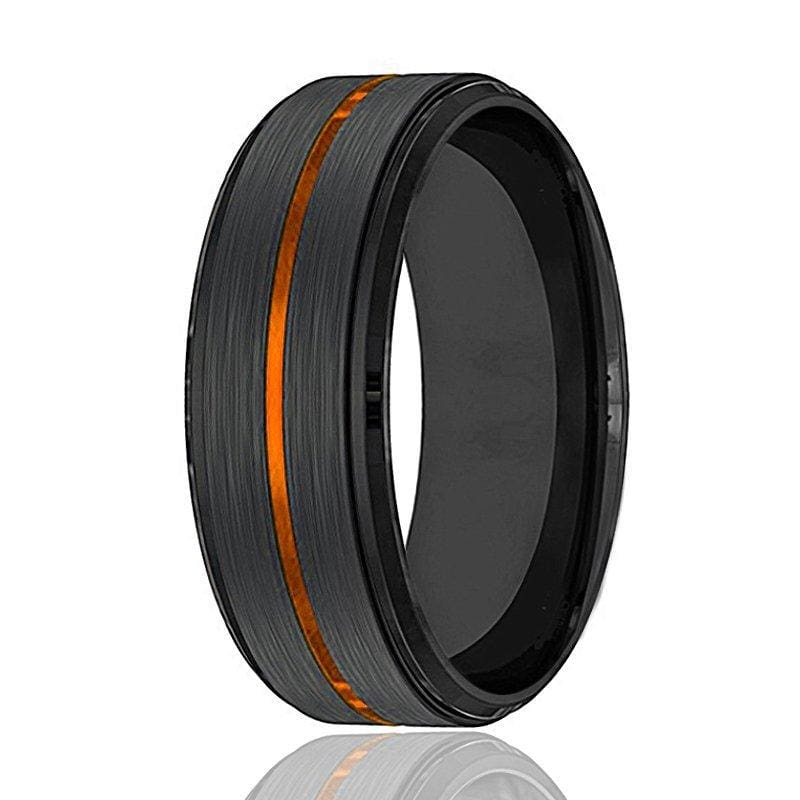 Mens Black Tungsten Carbide Wedding Band with Luscious Orange Groove 8mm