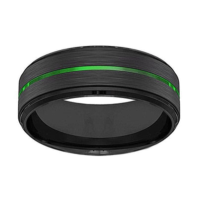 Mens Black Tungsten Carbide Wedding Ring with Acid Green Grooved Center 8mm