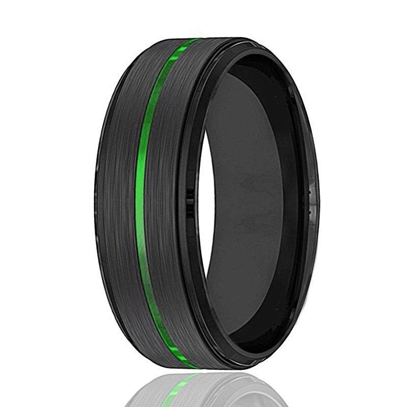 Men's Black Tungsten Carbide Wedding Ring with Acid Green Grooved Center 8mm