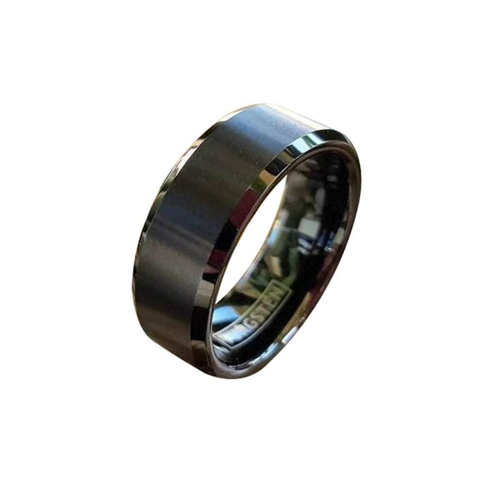 Mens Black Tungsten Ring w/ Brushed Finish and High Polished Beveled Edges 6mm & 8mm