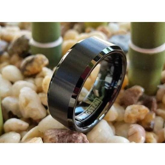 Men's Black Tungsten Ring w/ Brushed Finish and High Polished Beveled Edges 6mm & 8mm
