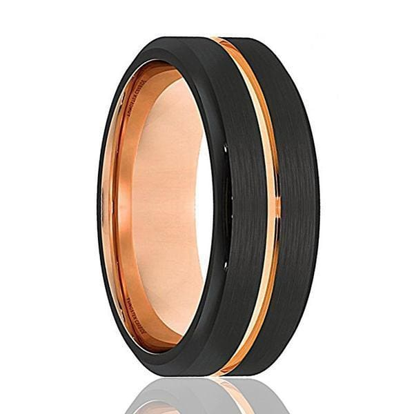 Mens Black Tungsten Ring With Rose Gold Grooved Center Beveled Edges - 8mm
