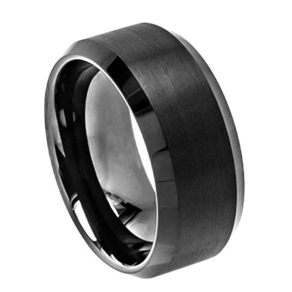 Mens Black Tungsten Wedding Band Brushed Center High Polish Beveled Edge - 10mm