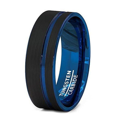Mens Black Tungsten Wedding Band With Blue Groove and Inside - 8 mm