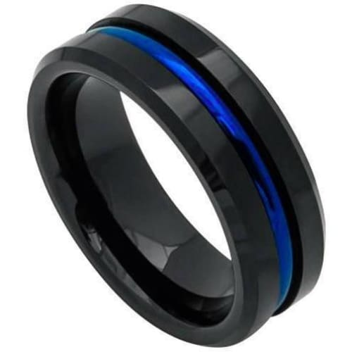 Mens Black Tungsten Wedding Band With Blue Grooved Center High Polish - 8mm