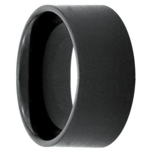 Mens Black Tungsten Wedding Ring Brushed Pipe Cut Band - 12mm