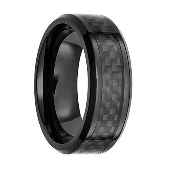 Mens Black Tungsten Wedding Ring w/ Carbon Fiber Inlay Beveled Edges - 8mm