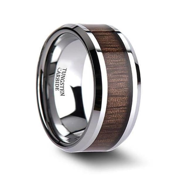 Mens Black Walnut Wood Inlaid Tungsten Wedding Ring With Beveled Edges 4mm - 12 mm
