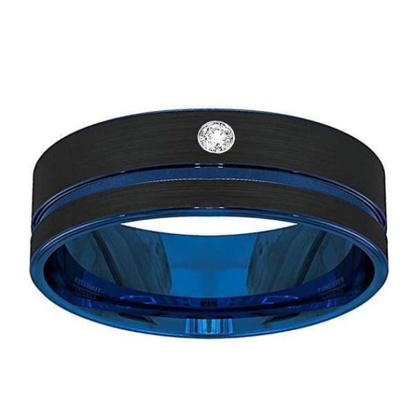 Mens Blue Grooved Center Tungsten Wedding Band With Cubic Zirconia Setting - 8 mm