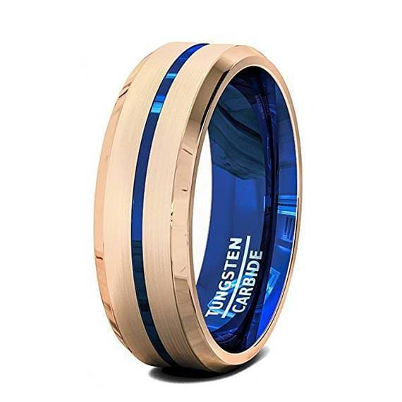 Mens Blue Grooved Tungsten Ring with Rose Gold Inlay Beveled Edges- 6mm & 8 mm
