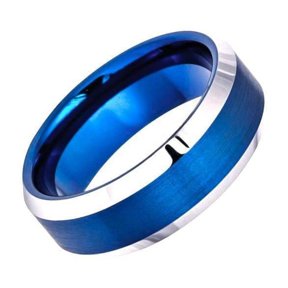 Mens Blue Tungsten Wedding Ring Brushed High Polish Beveled Edge -6mm & 8mm