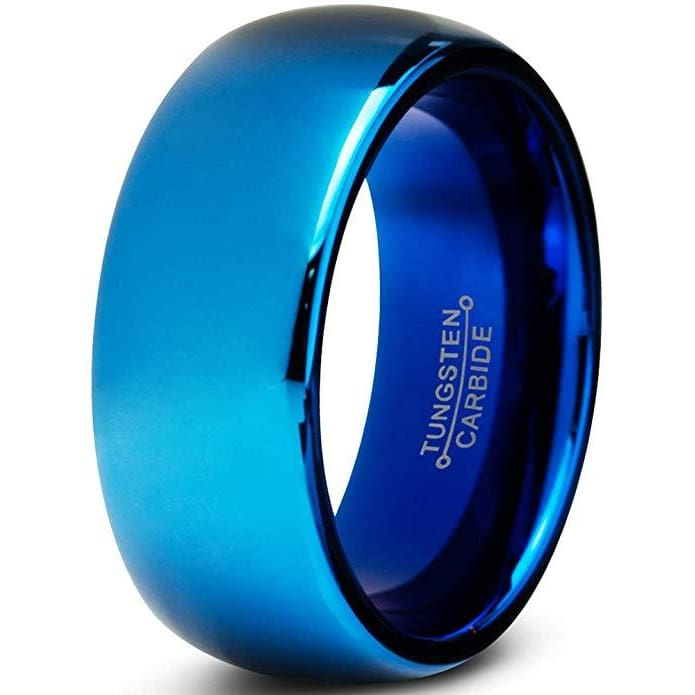 Mens Blue Tungsten Wedding Ring Dome Polished Comfort Fit - 8mm