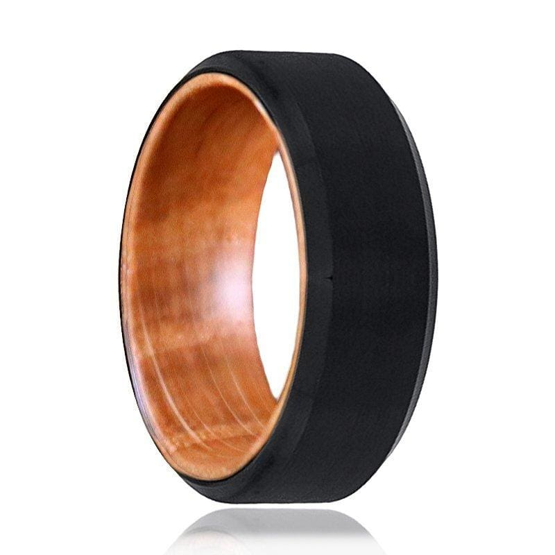 Mens Brushed Black Tungsten Ring With Whiskey Barrel Wood Sleeve 8mm