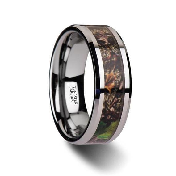 Mens Camo Tungsten Wedding Ring Green Tree Leaves Beveled Polished Finish - 8mm