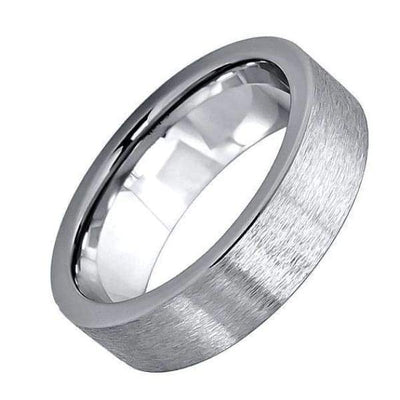 Mens Carbide Tungsten Wedding Ring Brushed Polished Flat Pipe Cut Style - 6mm