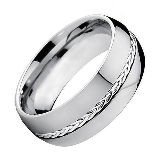 Mens Carbide Tungsten Wedding Ring Grooved with Braided Sterling Silver Insert - 8mm