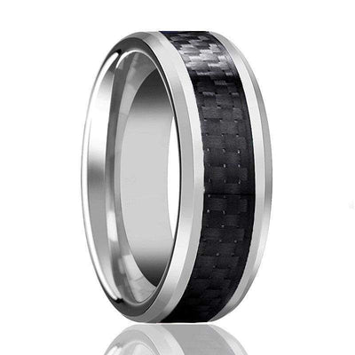 Mens Carbide Tungsten Wedding Ring High Polish with Black Carbon Fiber Inlay - 6mm & 8mm