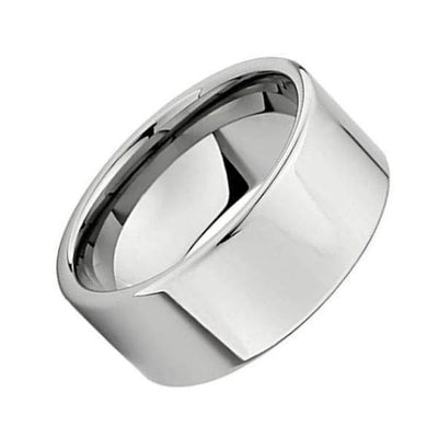 Mens Carbide Tungsten Wedding Ring High Polished Flat Pipe Cut Style 12mm