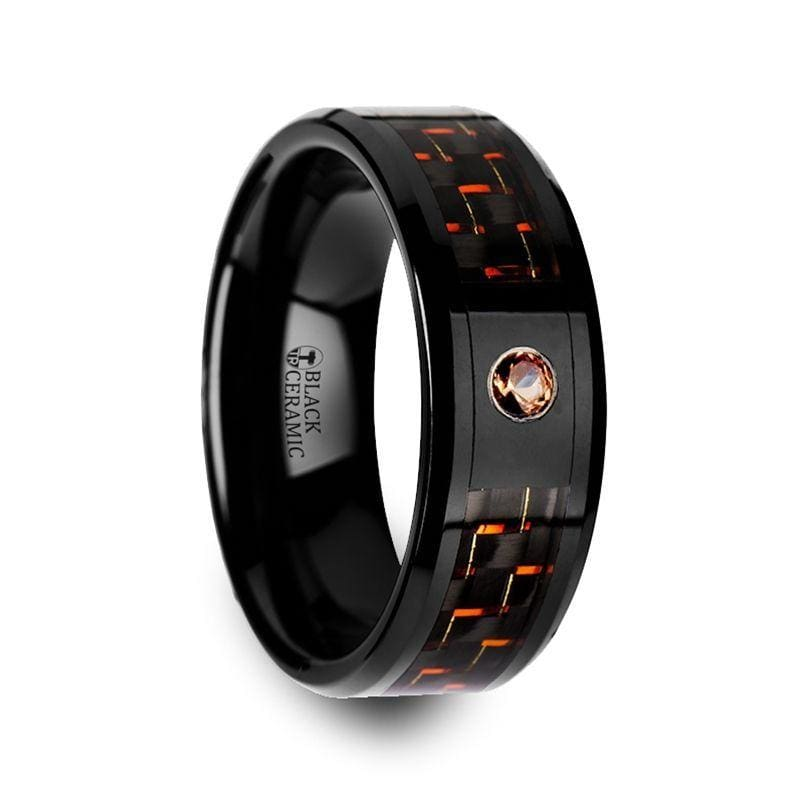 Men's Ceramic Ring With Black & Orange Carbon Fiber And Padparadscha Setting - 8mm