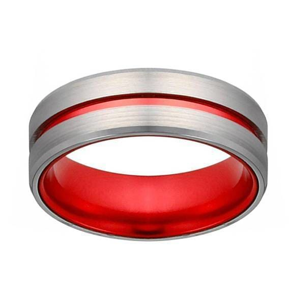 Mens Classic Grooved Silver And Red Tungsten Wedding Band With Beveled Edges - 8mm