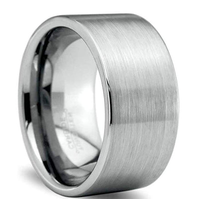 Mens Classic Tungsten Wedding Band Pipe Cut Extra Wide with Brushed Finish - 12mm