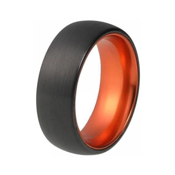 Mens Domed Black Tungsten Ring With Atomic Orange Inside & Brushed Finish 6mm & 8mm - Ring