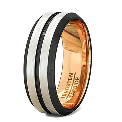 Mens Domed Double Grooved Tungsten Wedding Band With Rose Gold Inlay - 8mm
