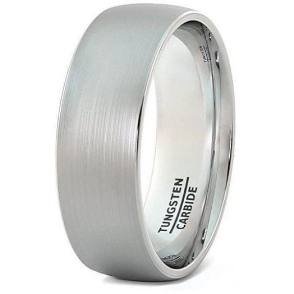 Mens Domed Engraved Tungsten Wedding Ring With Brushed Center - 8mm - Ring