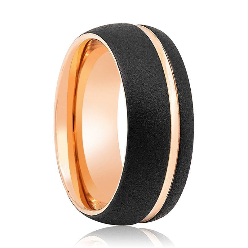 Men's Domed Rose Gold Inlaid Tungsten Wedding Band Sandblasted Finish - 8mm