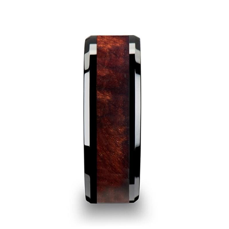 Mens Exotic Redwood Inlaid Black Ceramic Ring With Beveled Edges 8mm