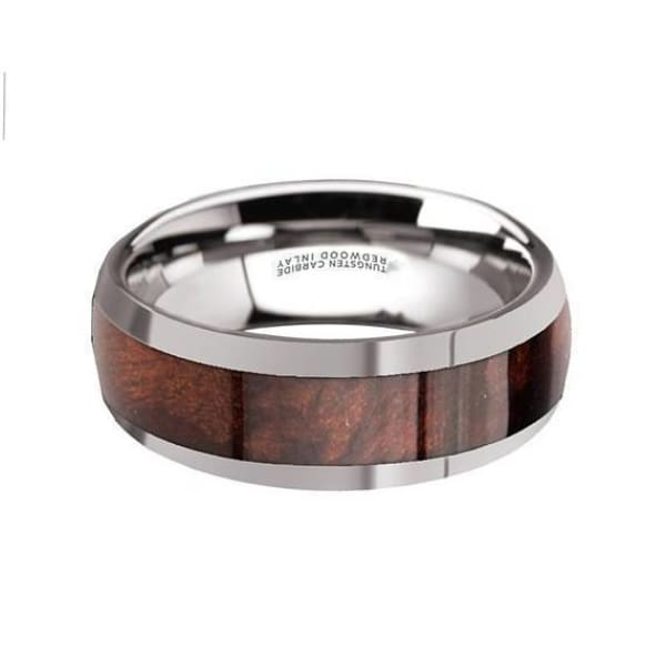 Mens Exotic Redwood Inlaid Tungsten Carbide Ring W/ High Polished Edges - 8mm