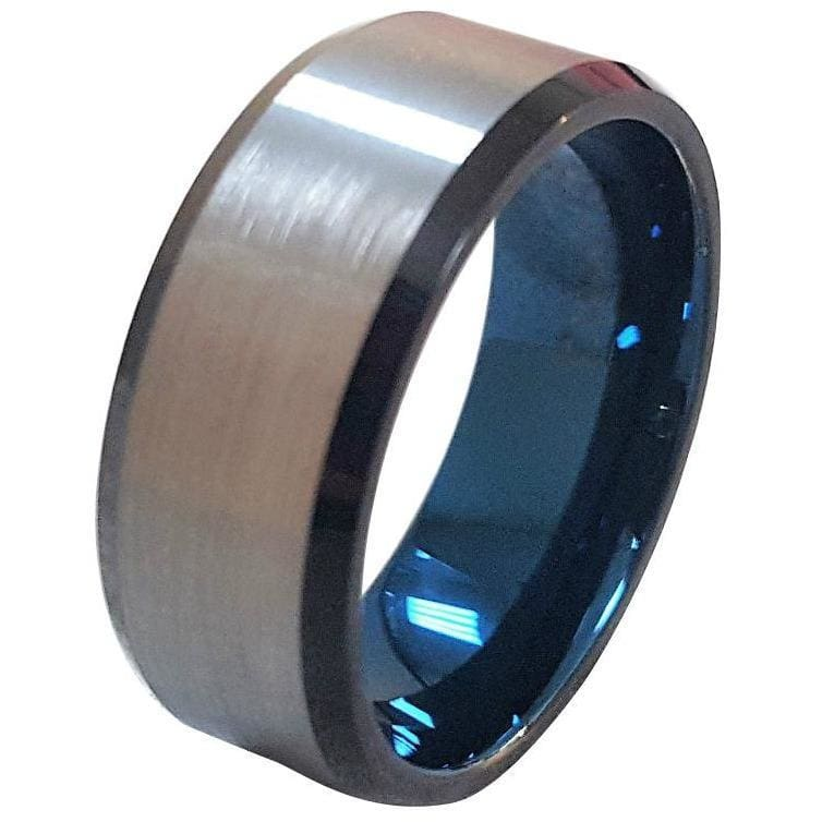 Mens Extra Wide Tungsten Wedding Band With Brushed Center and Ion Plated Blue Inside 10mm