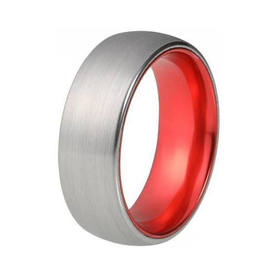 Mens Fire Red Tungsten Wedding Ring Silver Brushed - 8mm