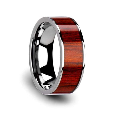 Mens Flat Tungsten Carbide Wedding Ring With Real Padauk Wood Inlay 8mm