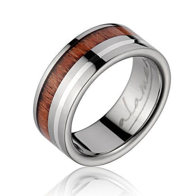 Mens Genuine Titanium Wedding Band Hawaiian Koa Wood Sterling Silver Border - 8mm
