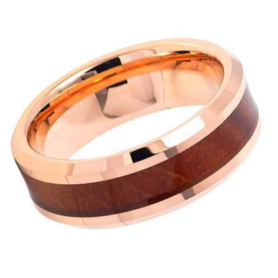 Mens Hawaiian Koa Wood Inlaid Tungsten Carbide Ring With Beveled Edges- 8mm