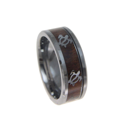 Mens Honu Turtle Tungsten Ring Hawaiian Koa Wood Band Genuine Inlay Comfort Fit - 8mm