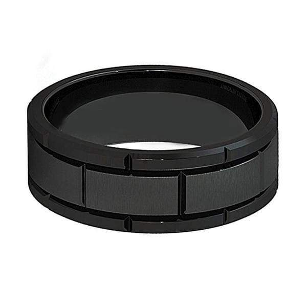 Mens Multiple Grooved Black Tungsten Carbide Ring With Brushed Center 8mm