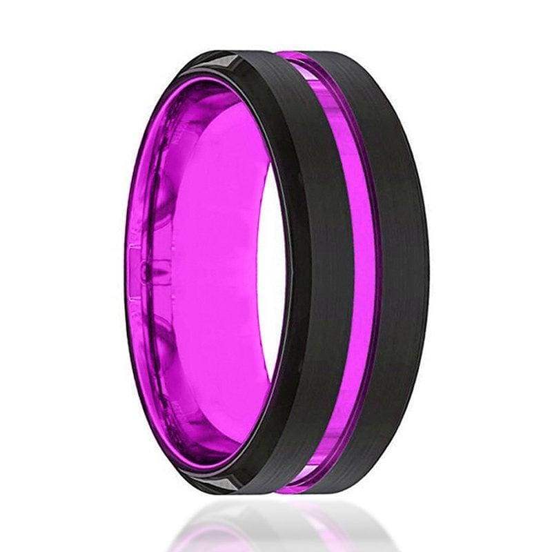 Mens Passionate Purple Groove Beveled Black Tungsten Carbide Wedding Ring - 8mm