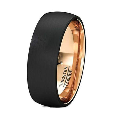 Mens Engraved Rose Gold Inlay Tungsten Carbide Ring Brushed Comfort Fit - 8mm