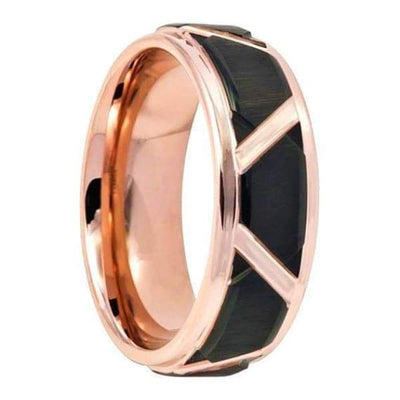 Mens Rose Gold Inlaid Tungsten Ring High With Black Trapezoid Center - 8mm