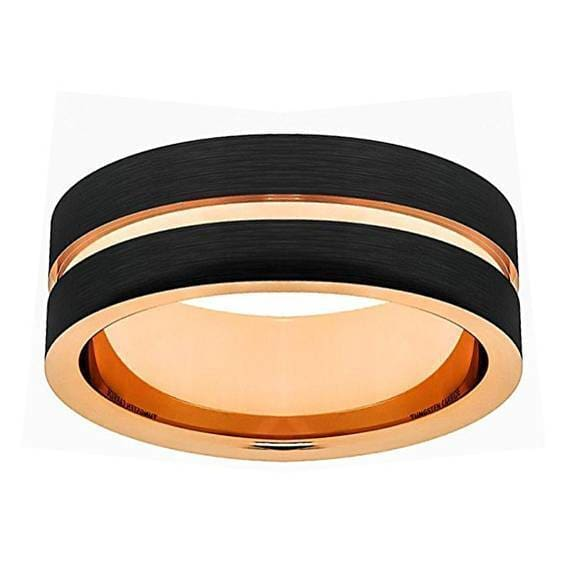 Mens Rose Gold Inlay Grooved Black Tungsten Wedding Band Pipe Cut- 6mm & 8mm