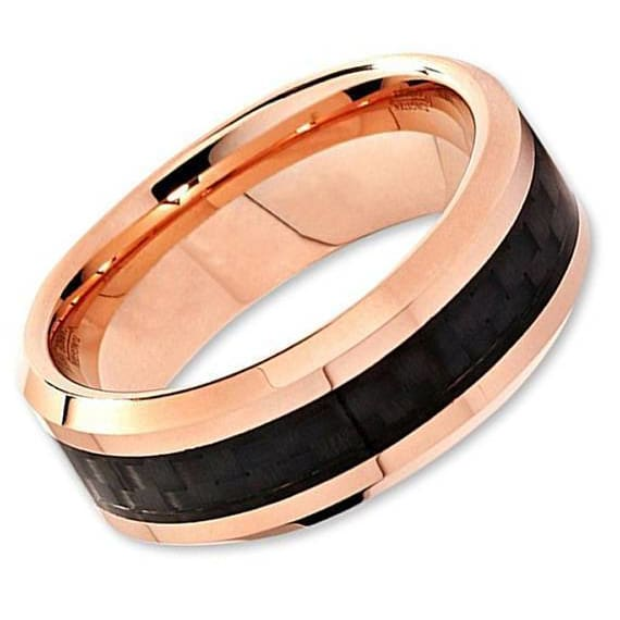 Mens Rose Gold Tungsten Wedding Band Black Carbon Fiber Beveled Edge - 6mm & 8mm