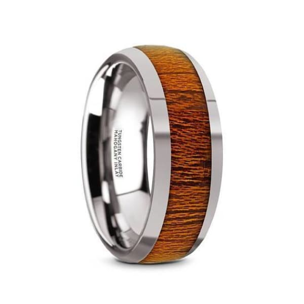 Mens Round Mahogany Wood Inlaid Tungsten Wedding Ring Polish Finish - 8mm - Ring