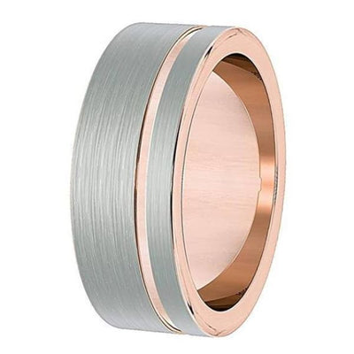 Mens Silver & Rose Gold Flat Tungsten Wedding Ring With Brushed Center - 8mm