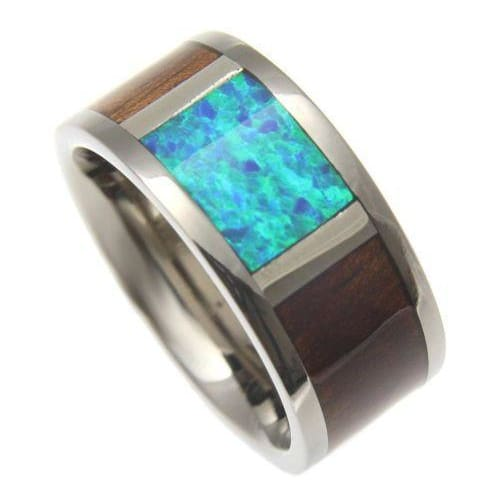 Mens Titanium Band Genuine Hawaiian Koa Wood Inlay Opal Comfort Fit Ring - 10mm