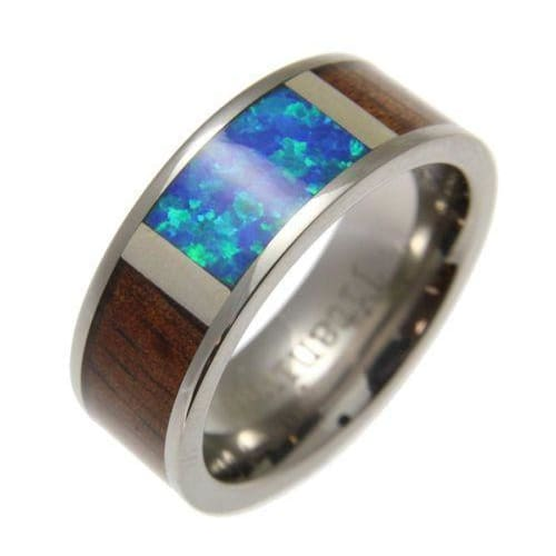 Mens Titanium Band Genuine Hawaiian Koa Wood Inlay Opal Comfort Fit Ring - 8mm
