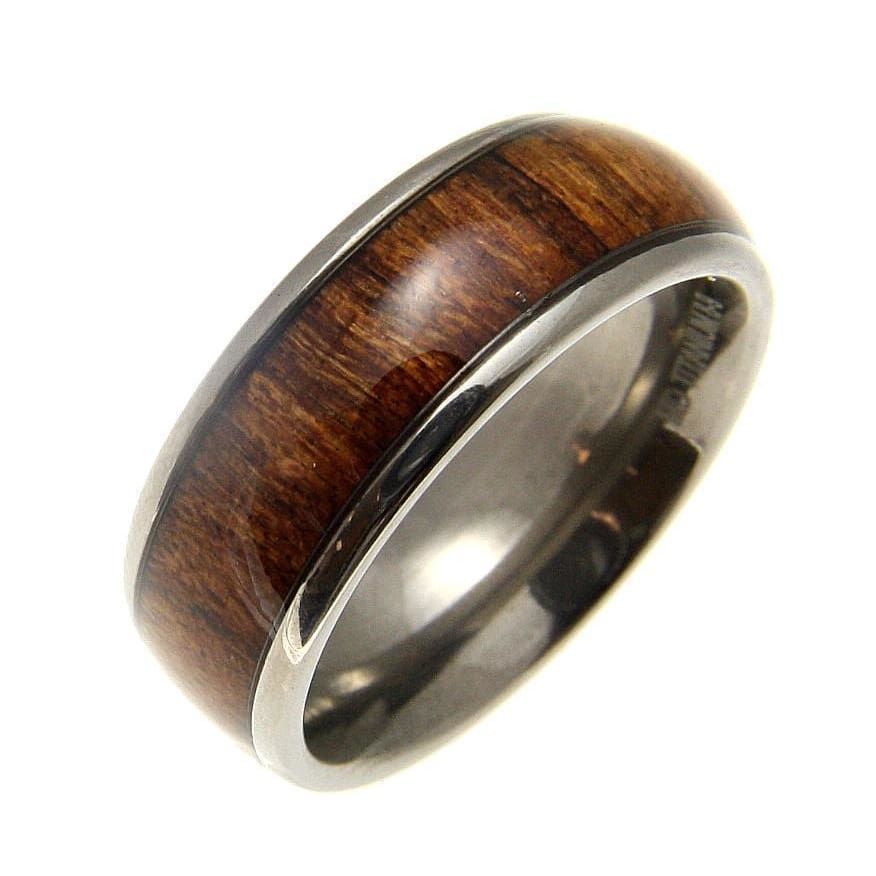Mens Titanium Band Ring Genuine Inlay Hawaiian Koa Wood Comfort Fit Dome Style - 8mm
