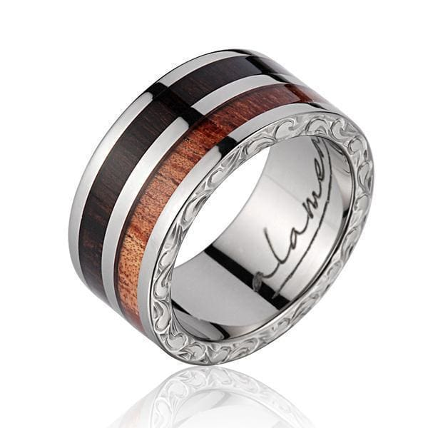 Mens Titanium Scroll Genuine Macassar Ebony Hawaiian Koa Wood Wedding Band - 10mm