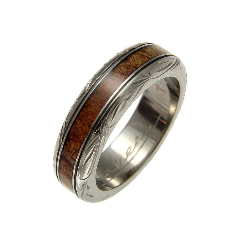 Mens Titanium Scroll Wedding Band Genuine Inlay Hawaiian Koa Wood Ring - 6mm